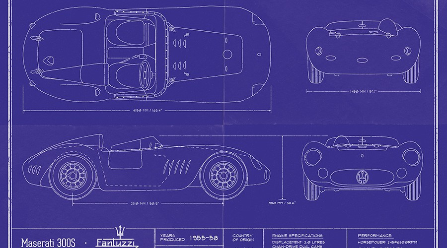 Blueprint carpe viamcarpe viam original blueprint design by dwight knowlton for the maserati 300s including the long lost mark malvernweather Choice Image