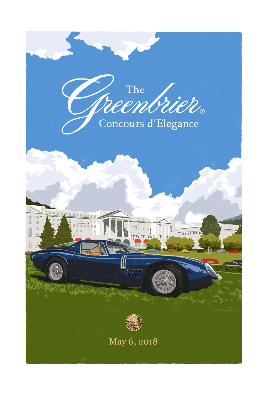 Greenbrier Concours d'Elegance poster illustration and design by Dwight Knowlton