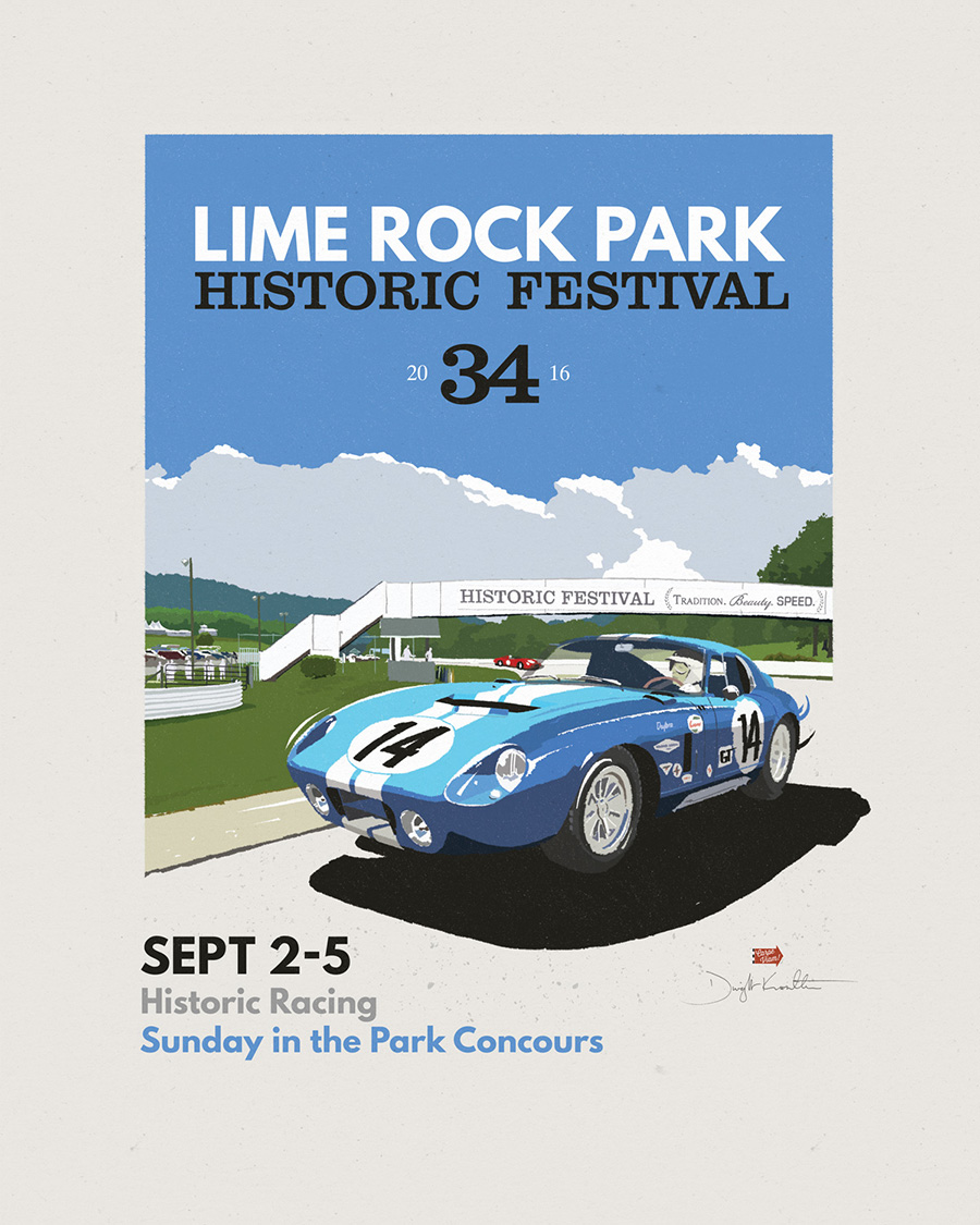 Lime Rock poster illustration and design by Dwight Knowlton