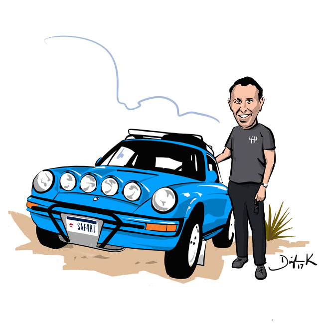 Porsche 911 Safari CARicature by Dwight Knowlton