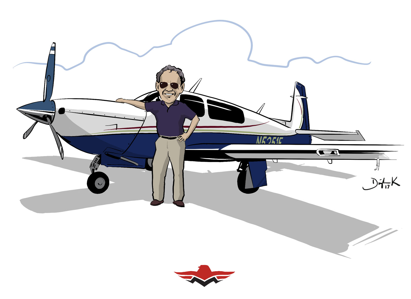 Mooney Aircraft CARicature by Dwight Knowlton