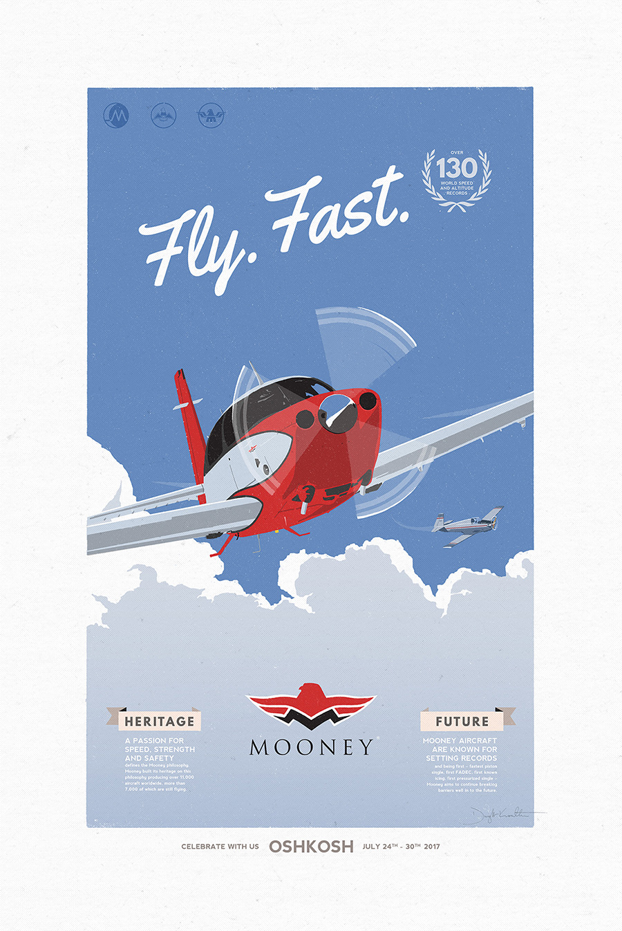 Mooney Aircraft poster illustration and design by Dwight Knowlton
