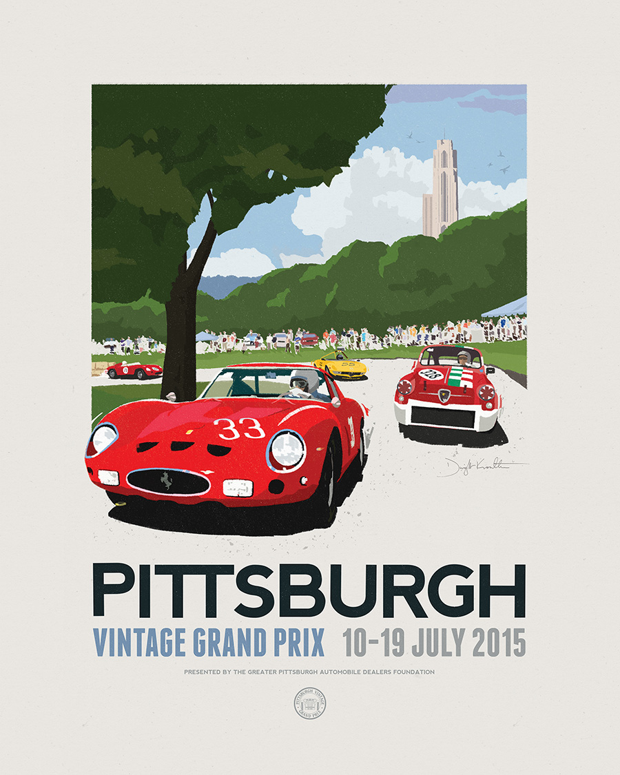 Pittsburgh Vintage Grand Prix poster illustration and design by Dwight Knowlton